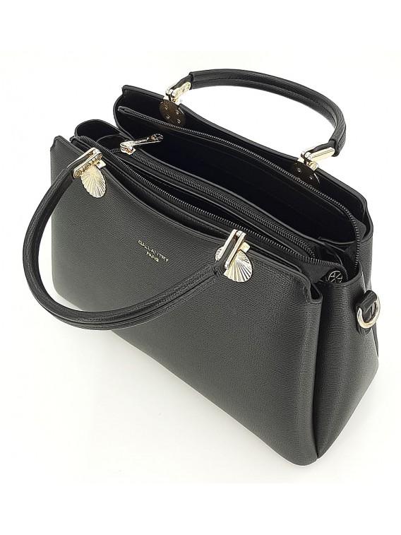 Czarny kuferek damski ze złotymi okuciami GALLANTRY