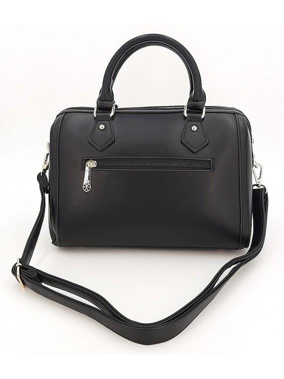 Czarny kuferek damski z paskami GALLANTRY