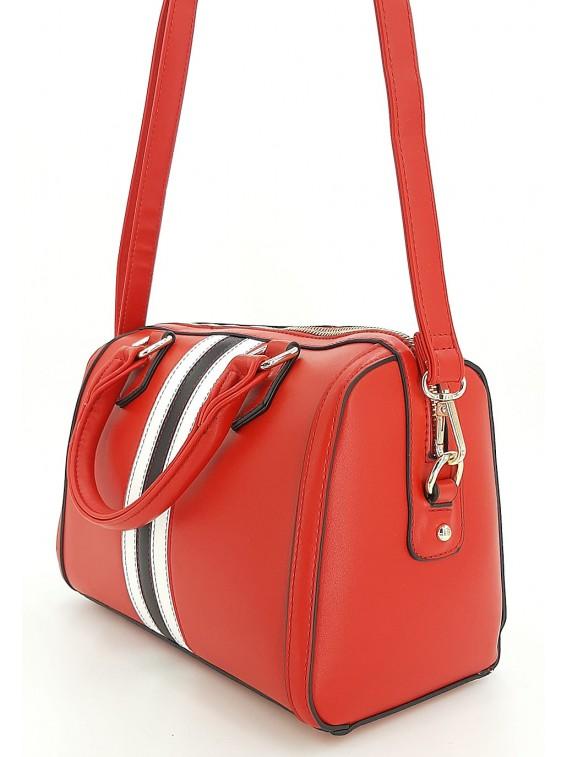 Czerwony kuferek damski z paskami GALLANTRY