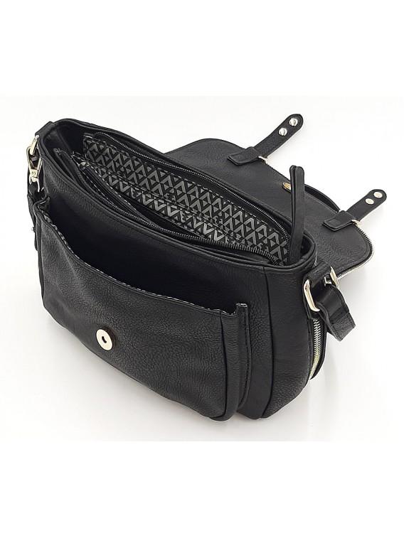 Czarna torebka listonoszka z klapką LULU CASTAGNETTE