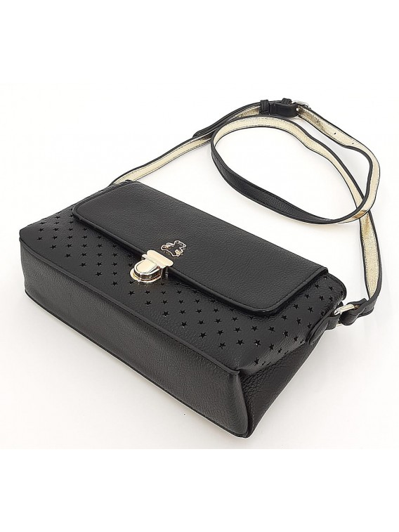 Czarna ażurowa torebka listonoszka LULU CASTAGNETTE