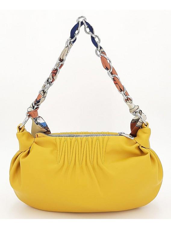 Żółta torebka listonoszka z łańcuszkiem DAVID JONES