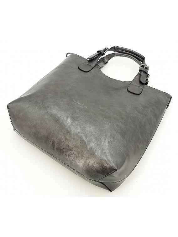 Stalowo szara klasyczna torebka damska INES DELAURE