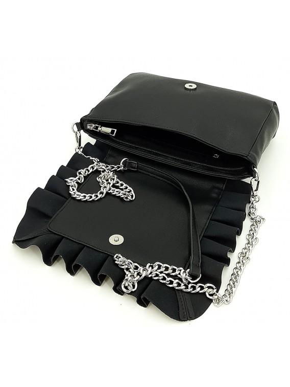 Czarna torebka listonoszka z falbanką CESILY