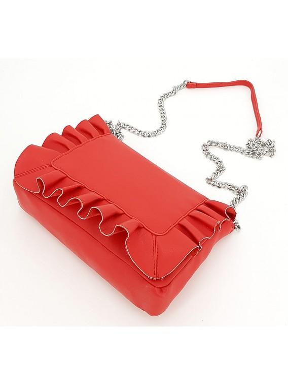 Czerwona torebka listonoszka z falbanką CESILY
