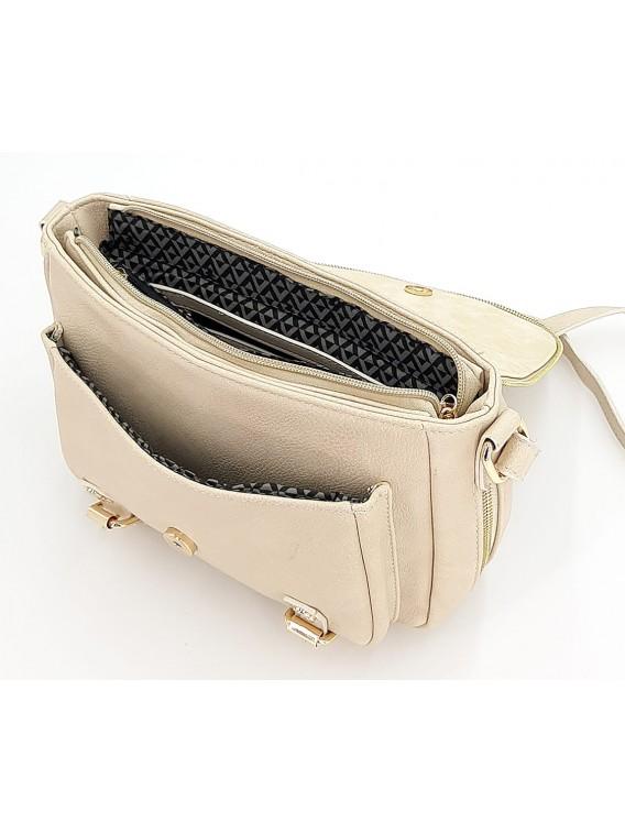 Kremowa torebka listonoszka z klapką LULU CASTAGNETTE