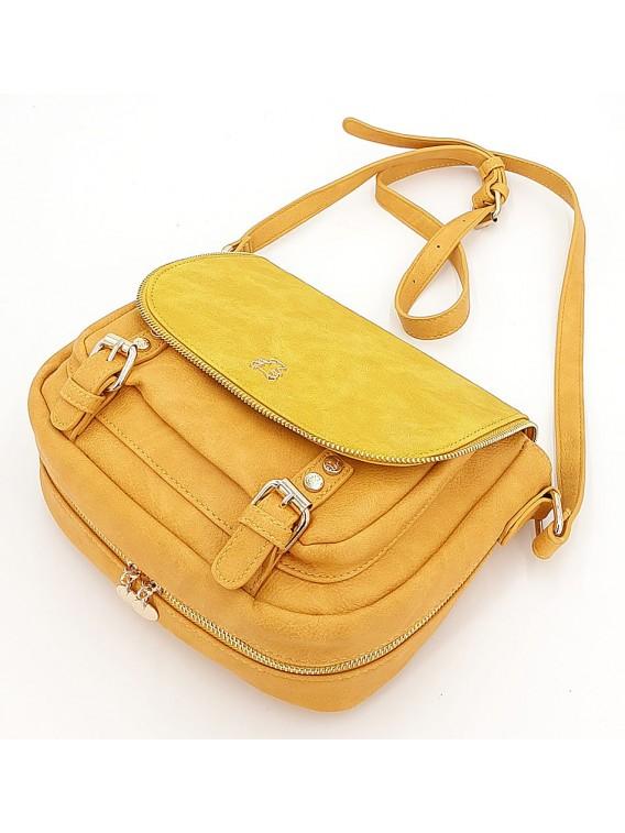 Żółta torebka listonoszka z klapką LULU CASTAGNETTE