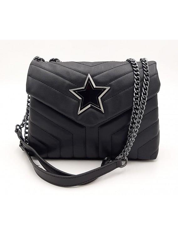 Czarna pikowana torebka listonoszka z gwiazdką