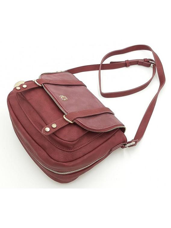Bordowa torebka listonoszka z klapką LULU CASTAGNETTE
