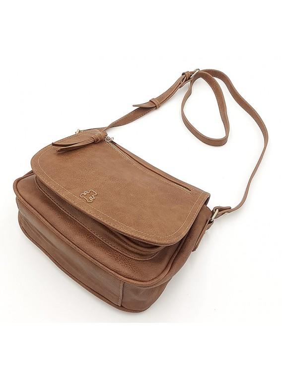 Brązowa torebka listonoszka z misiem LULU CASTAGNETTE