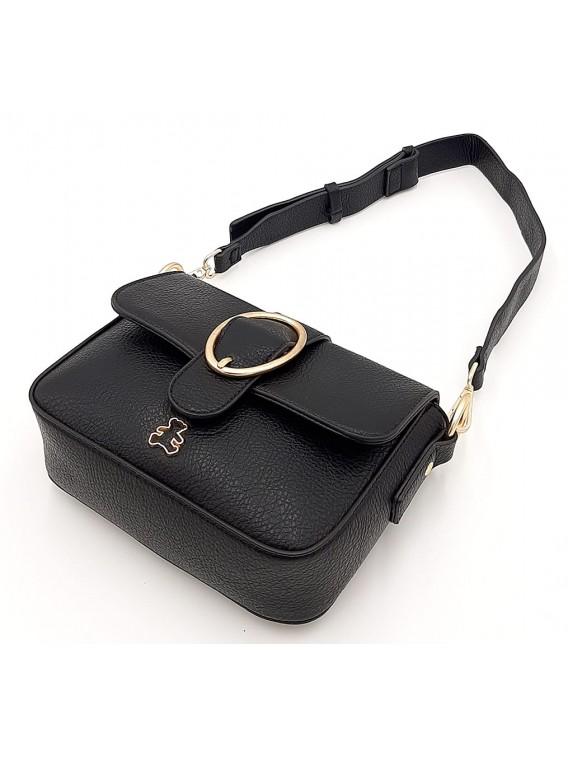 Czarna torebka listonoszka z dwoma paskami LULU CASTAGNETTE