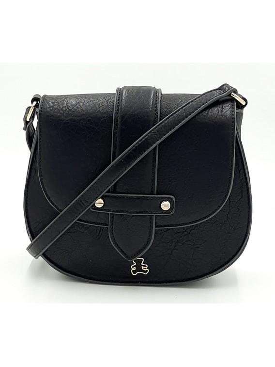 Czarna torebka listonoszka z klapką LULU CASTAGNATTE