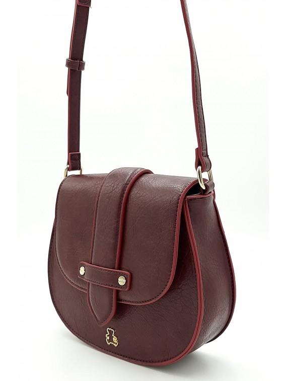 Bordowa torebka listonoszka z klapką LULU CASTAGNATTE