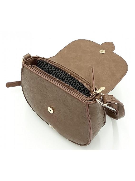 Brązowa torebka listonoszka z klapką LULU CASTAGNATTE