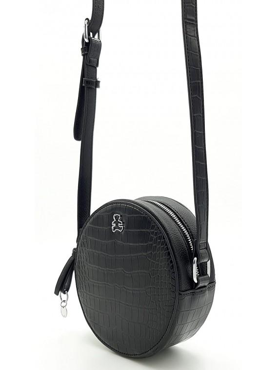 Czarna okrągła torebka listonoszka LULU CASTAGNETTE