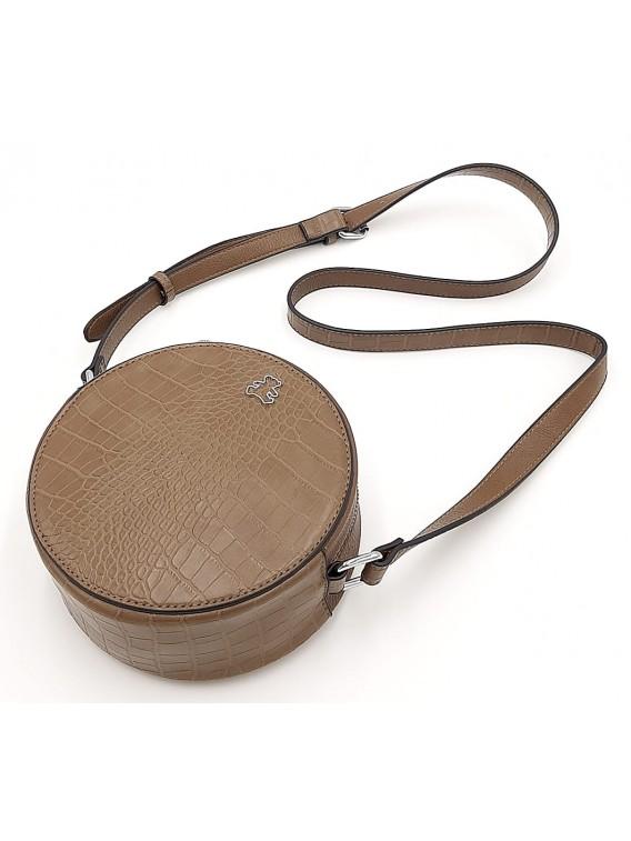 Brązowa okrągła torebka listonoszka LULU CASTAGNETTE